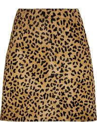 Светло-коричневая мини-юбка с леопардовым принтом от MCQ
