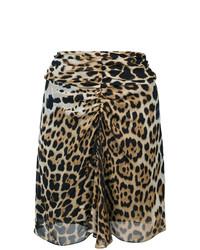Светло-коричневая мини-юбка с леопардовым принтом от Saint Laurent