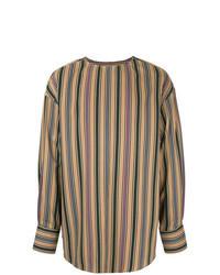 Светло-коричневая рубашка с длинным рукавом в вертикальную полоску