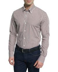 Светло-коричневая рубашка с длинным рукавом в мелкую клетку