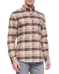 Светло-коричневая рубашка с длинным рукавом в шотландскую клетку