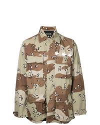 Светло-коричневая рубашка с длинным рукавом с камуфляжным принтом