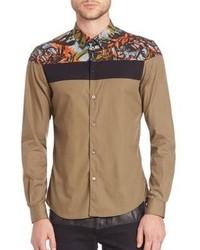 Светло-коричневая рубашка с длинным рукавом с цветочным принтом