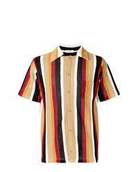 Светло-коричневая рубашка с коротким рукавом в вертикальную полоску