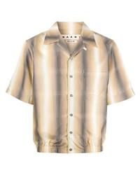 Мужская светло-коричневая рубашка с коротким рукавом в шотландскую клетку от Marni