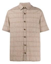 Мужская светло-коричневая рубашка с коротким рукавом в шотландскую клетку от Nanushka