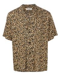Мужская светло-коричневая рубашка с коротким рукавом с леопардовым принтом от Saint Laurent