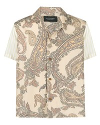 """Мужская светло-коричневая рубашка с коротким рукавом с """"огурцами"""" от Viktor & Rolf"""