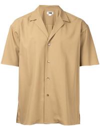 Светло-коричневая рубашка с коротким рукавом