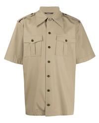 Мужская светло-коричневая рубашка с коротким рукавом от Dolce & Gabbana