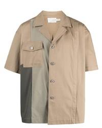 Мужская светло-коричневая рубашка с коротким рукавом от Feng Chen Wang