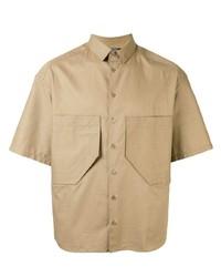Мужская светло-коричневая рубашка с коротким рукавом от Neil Barrett