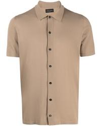 Мужская светло-коричневая рубашка с коротким рукавом от Roberto Collina