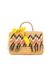 Светло-коричневая соломенная большая сумка с принтом от SENSI STUDIO