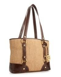 Светло-коричневая соломенная большая сумка