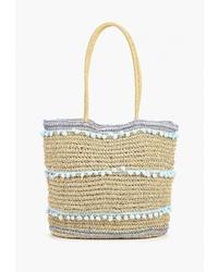Светло-коричневая соломенная большая сумка от Dorothy Perkins