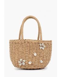 Светло-коричневая соломенная большая сумка от Fabretti