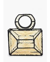 Светло-коричневая соломенная большая сумка от Mango