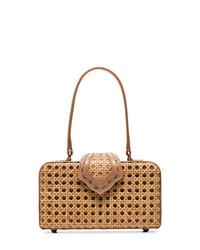 Светло-коричневая соломенная большая сумка от Mehry Mu