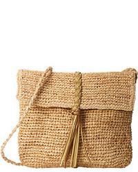 Светло-коричневая соломенная сумка через плечо