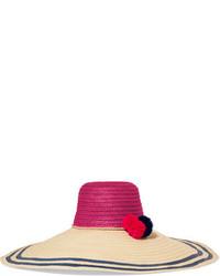 Светло-коричневая соломенная шляпа в горизонтальную полоску