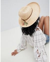 Женская светло-коричневая соломенная шляпа с цветочным принтом от Brixton