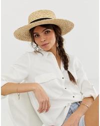 Женская светло-коричневая соломенная шляпа от ASOS DESIGN