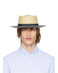 Мужская светло-коричневая соломенная шляпа от Giorgio Armani