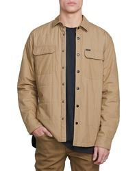Светло-коричневая стеганая куртка-рубашка