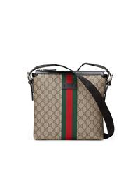 Светло-коричневая сумка почтальона из плотной ткани от Gucci