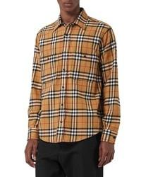 Светло-коричневая фланелевая рубашка с длинным рукавом в клетку