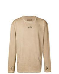 Светло-коричневая футболка с длинным рукавом с принтом