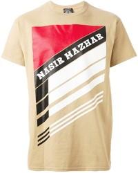 Светло-коричневая футболка с круглым вырезом с принтом