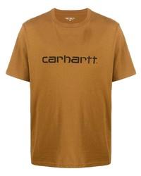 Мужская светло-коричневая футболка с круглым вырезом с принтом от Carhartt WIP