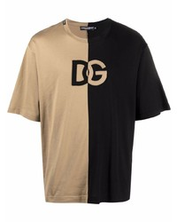 Мужская светло-коричневая футболка с круглым вырезом с принтом от Dolce & Gabbana