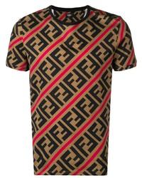 Мужская светло-коричневая футболка с круглым вырезом с принтом от Fendi