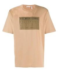Мужская светло-коричневая футболка с круглым вырезом с принтом от Helmut Lang