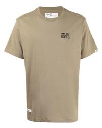 Мужская светло-коричневая футболка с круглым вырезом с принтом от Izzue