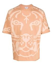 Мужская светло-коричневая футболка с круглым вырезом с принтом от Kenzo