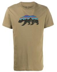 Мужская светло-коричневая футболка с круглым вырезом с принтом от Patagonia