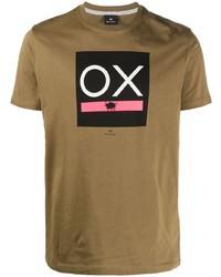 Мужская светло-коричневая футболка с круглым вырезом с принтом от PS Paul Smith
