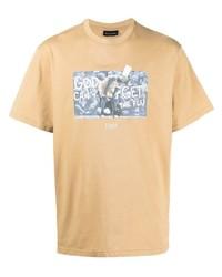 Мужская светло-коричневая футболка с круглым вырезом с принтом от Throwback.