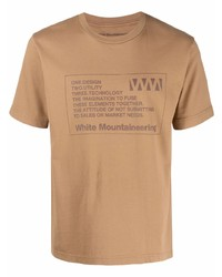 Мужская светло-коричневая футболка с круглым вырезом с принтом от White Mountaineering