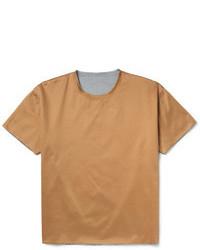 Светло-коричневая футболка с круглым вырезом