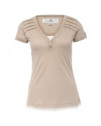 Женская светло-коричневая футболка с круглым вырезом от Kruebeck