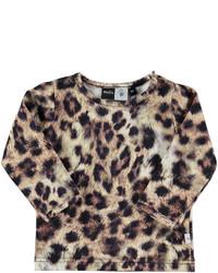 Светло-коричневая футболка с леопардовым принтом