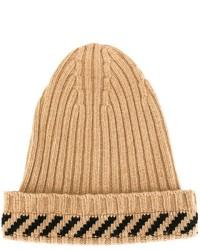 Мужская светло-коричневая шапка в горизонтальную полоску от Off-White