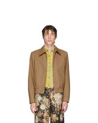 Светло-коричневая шерстяная куртка харрингтон в вертикальную полоску от Dries Van Noten