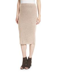 Светло-коричневая шерстяная юбка-карандаш