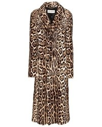 Женская светло-коричневая шуба с леопардовым принтом от Saint Laurent